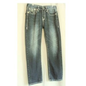 True Religion Ricky Blue Distressed Jeans Size 34